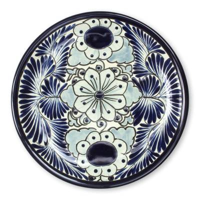 Ceramic dinner plates \u0027Blue Colonial Blossom\u0027 (pair) - Mexican Hand Painted  sc 1 st  NOVICA & Mexican Hand Painted 11-Inch Ceramic Dinner Plates (Pair) - Blue ...