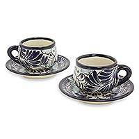 Ceramic demitasse cups and saucers, 'Blue Colonial Blossom' (set for 2) - Artisan Crafted  Mexican Majolica Demitasse Cups (Set for 2)