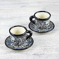 Ceramic cups and saucers, 'Blue Colonial Blossom' (set for 2) - Handcrafted Mexican Majolica Cups and Saucers (Set for 2)