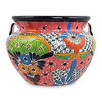 Ceramic flower pot, 'Guanajuato Garden' (14 inch) - Handcrafted Talavera Style 14 Inch Ceramic Flower Pot