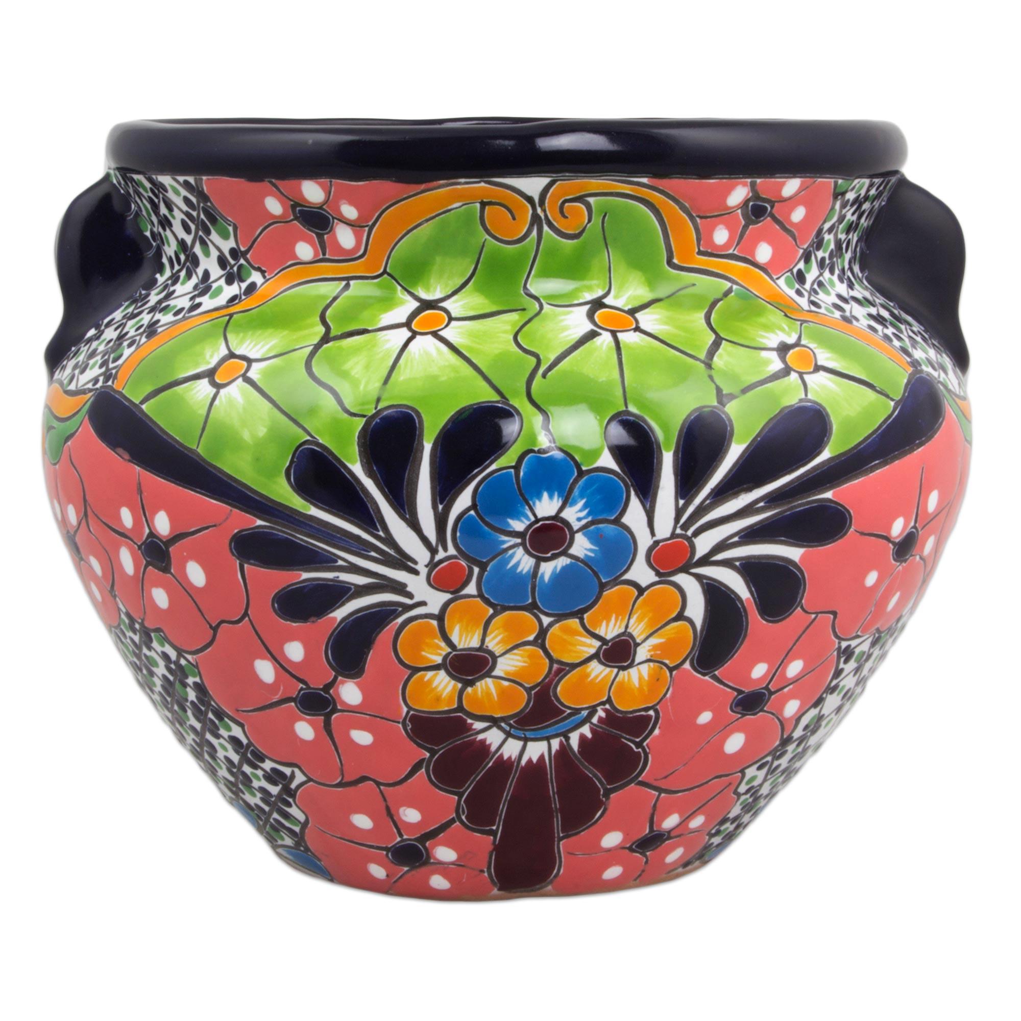 Outstanding 11 Inch Artisan Crafted Talavera Style Ceramic Flower Pot Guanajuato Garden Machost Co Dining Chair Design Ideas Machostcouk