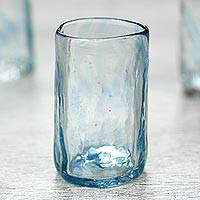 Blown glass shot glasses, 'Azure Mist' (set of 4) - Set of 4 Mexican Clear Blue Blown Glass Mezcal Shot Glasses