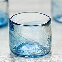 Blown glass lowball glasses, 'Azure Mist' (set of 4, 5 oz) - Set of 4 Mexican Clear Blue Blown Glass Rocks Glasses (5 oz)