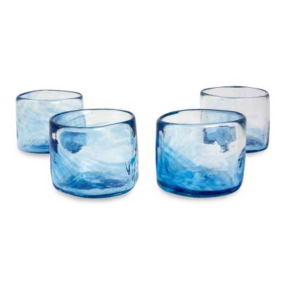 blown glass lowball glasses u0027azure mistu0027 set of 4 5 oz
