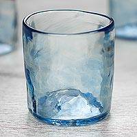Blown glass rocks glasses, 'Azure Mist' (set of 4, 8 oz) - Set of 4 Mexican Clear Blue Blown Glass Rocks Glasses (8 oz)