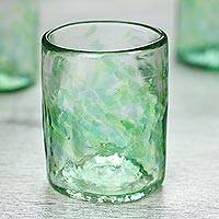 Blown glass rocks glasses, 'Jade Mist' (set of 4, 8 oz) - Set of 4 Artisan Crafted Blown Glass Green Rocks Glasses 8oz