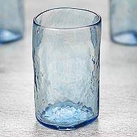 Blown glass tumblers, 'Azure Mist' (set of 4) - Set of 4 Clear Blue Hand Blown 11 oz Tumblers