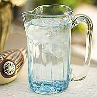 Blown glass pitcher, 'Blue Mist' (23 oz) - Blue Blown Glass Pitcher 23 oz Artisan Crafted Serveware