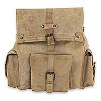 Leather backpack, 'Trendy Taupe' - Hand Crafted Tan Leather Adjustable Backpack with Three Buck