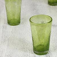 Blown glass highball glasses, 'Lime Bubbles' (set of 6) - Set of 6 Lime Green 13 oz Hand Blown Highball Glasses