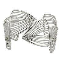 Sterling silver cuff bracelet, 'Linear Junction' - Sterling Silver Cuff Bracelet with Linked Triangles