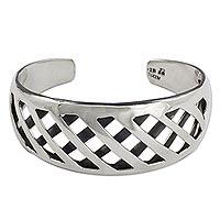 Sterling silver cuff bracelet, 'Woven Contrast' - Cuff Bracelet Modern Sterling Silver Taxco Jewelry