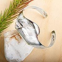 Sterling silver cuff bracelet, 'Unfolding Petals' - Ultra Modern Sterling Silver Cuff Bracelet Taxco Jewelry
