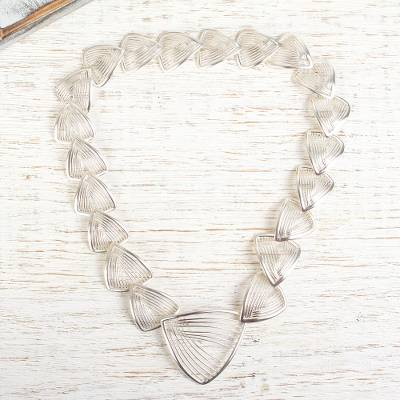Sterling silver link necklace, 'Linear Junction' - Mexican Sterling Silver Necklace with Linked Triangles