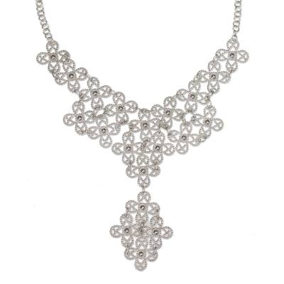 Artisan Crafted Floral Sterling Silver Taxco Necklace