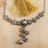 Cultured pearl flower necklace, 'Timeless Blossoms' - Sterling Silver Taxco Necklace with Pearls and Flowers