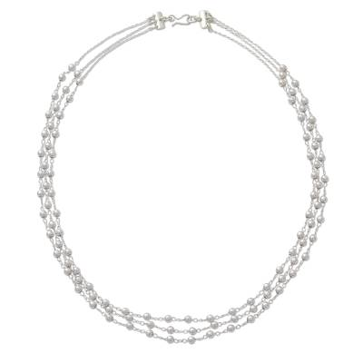 Taxco Artisan Crafted 3-strand Sterling Silver Necklace