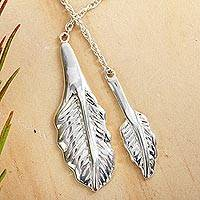 Sterling silver wrap necklace, 'Taxco Desire' - Leaf Pendants on Long Sterling Silver Necklace from Taxco