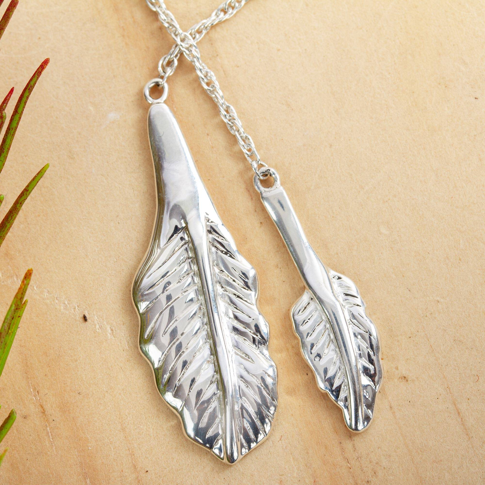 1f0611a3d UNICEF Market | Leaf Pendants on Long Sterling Silver Necklace from ...