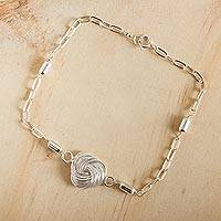 Sterling silver pendant bracelet, 'Infinite Knot' - Sterling Silver Bracelet Modern Taxco Jewelry