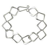 Sterling silver link bracelet, 'Taxco Diamonds' - Modern Taxco Silver Link Bracelet Handcrafted in Mexico