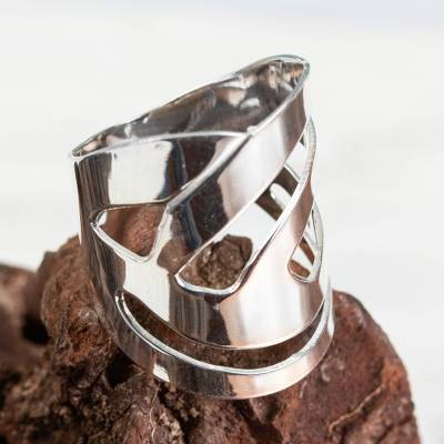 Sterling silver cocktail ring, 'Modern Jazz' - Wide Modern Cocktail Ring Handcrafted on Sterling Silver