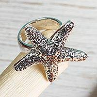 Sterling silver cocktail ring, 'Starfish Friendship' - Taxco Artisan Crafted Sterling Silver Ring with Starfish