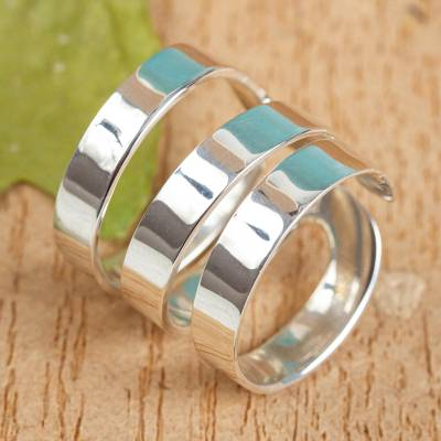 Sterling silver wrap ring, 'Ribbon Spin' - Artisan Crafted Wide Wrap Ring in Taxco Sterling Silver