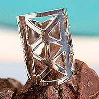 Sterling silver cocktail ring, 'Asterisks' - Wide Artisan-Crafted Statement Ring in Taxco Sterling Silver