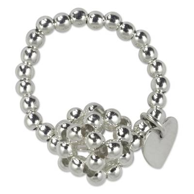 Sterling silver cluster ring, 'Heart Constellation' - Women's Silver Cluster Ring with a Heart Charm