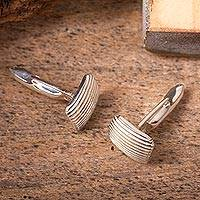 Sterling silver cufflinks, 'Minimalist Grille' - Artisan Crafted Cufflinks of Mexican Taxco Silver