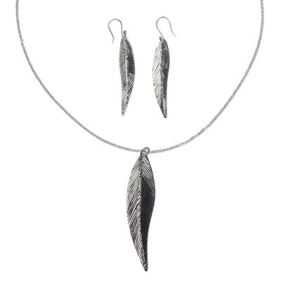 Sterling silver jewelry set, 'Shining Feather' - Artisan Crafted Mexican Silver Set of Necklace and Earrings
