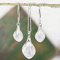 Cultured pearl jewelry set, 'Calla Lily' - Sterling Silver Floral Jewelry Set with Cultured Pearl