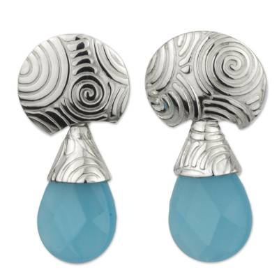 Handcrafted Taxco Silver Earrings with Faceted Chalcedony