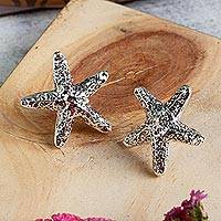 Sterling silver button earrings, 'Starfish Friendship'