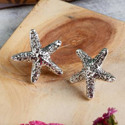 Sterling silver button earrings, 'Starfish Friendship' - Taxco Artisan Crafted Sterling Silver Starfish Earrings