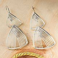 Sterling silver dangle earrings, 'Linear Junction' - Sterling Silver Hook Earrings with Linked Triangles