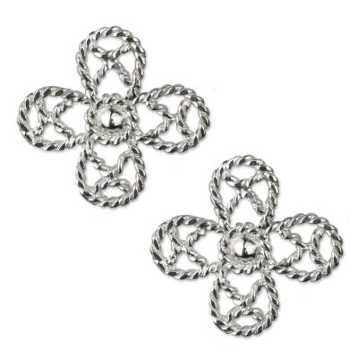 Artisan Crafted Floral Sterling Silver Taxco Earrings