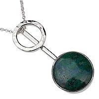 Chrysocolla pendant necklace, 'Taxco Pendulum' - Chrysocolla and Silver 950 Necklace Crafted in Taxco