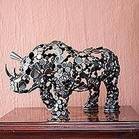Upcycled metal sculpture, 'Rustic Rhino'