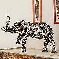 Upcycled metal sculpture, 'Rustic Male Elephant'