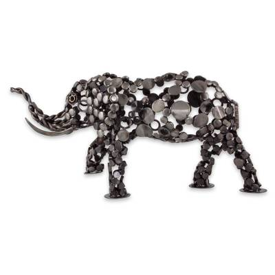 Upcycled metal sculpture, 'Rustic Male Elephant' - Eco-Friendly Recycled Metal 20-Inch Elephant Sculpture