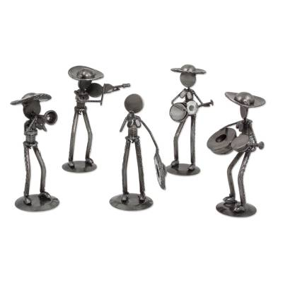 Auto part sculptures, 'Rustic Mariachis' (set of 5) - Set of 5 Upcycled Auto Part Mariachi Sculptures