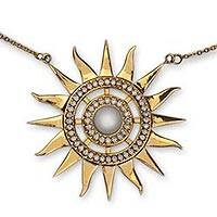 Gold vermeil cultured pearl pendant necklace, 'Dazzling Sun' - Handcrafted Gold Vermeil Sun Necklace with Pearl and CZ