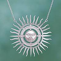 Sterling silver pendant necklace, 'Face of the Sun' - Face of the Sun Theme Sterling Silver and CZ Necklace