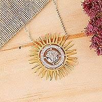 Gold vermeil pendant necklace, 'Face of the Sun' - Gold Vermeil and Cubic Zirconia Handcrafted Sun Necklace