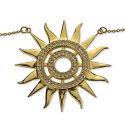 Gold vermeil pendant necklace, 'Dazzling Sun' - Gold Vermeil and Cubic Zirconia Handcrafted Sun Necklace