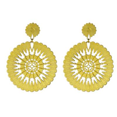 Gold plated dangle earrings, 'Soul of the Sun' - Artisan Crafted Signed Gold Plated Dangle Earrings