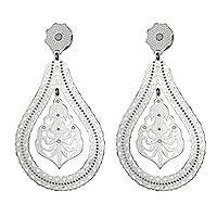Rhodium plated sterling silver dangle earrings, 'Lace Raindrop' - Lace Motif Rhodium Plated Sterling Silver Dangle Earrings