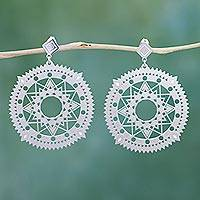 Sterling silver dangle earrings, 'Solar Stars' - Intricate Circular Silver Earrings with Cutout Star Motifs
